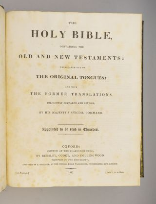 THE HOLY BIBLE, CONTAINING THE OLD AND NEW TESTAMENTS. . . . APPOINTED TO BE READ IN CHURCHES.
