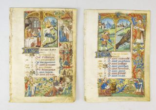 TEXT FROM JANUARY AND JUNE. OFFERED INDIVIDUALLY TWO VELLUM ILLUMINATED MANUSCRIPT CALENDAR...