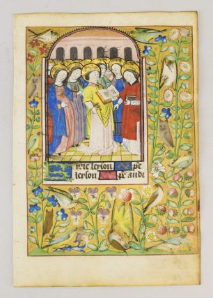 TEXT FROM THE BEGINNING OF THE LITANY. FROM A. BOOK OF HOURS IN LATIN AND FRENCH AN ILLUMINATED...