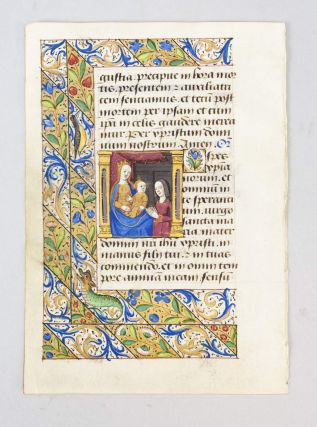 FROM A. BOOK OF HOURS IN LATIN AN ILLUMINATED MANUSCRIPT LEAF ON VELLUM WITH A. MINIATURE OF THE...
