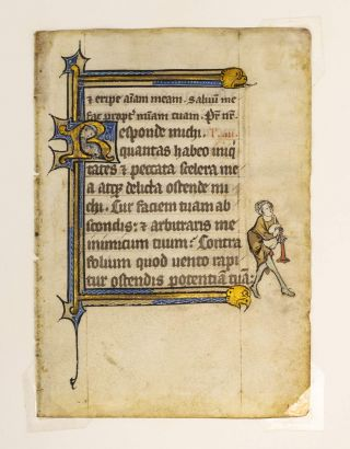 "INITIAL OPENS TEXT TO FOURTH LESSON FROM THE OFFICE OF THE DEAD. "" WITH AN IMAGE OF A. BAGPIPER IN THE MARGINS AN ILLUMINATED MANUSCRIPT LEAF ON VELLUM FROM THE ""GHISTELLES HOURS."
