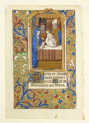 TEXT FROM BEGINNING OF NONE. WITH A. MINIATURE OF THE PRESENTATION IN THE TEMPLE A VERY FINE...