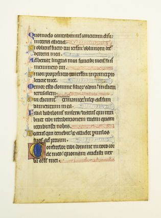 TEXT FROM PSALMS 136 AND 137. FROM A. PSALTER IN LATIN AN ILLUMINATED VELLUM MANUSCRIPT LEAF WITH...
