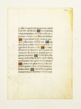 FROM A VERY ATTRACTIVE PORTABLE SPANISH DEVOTIONAL MANUSCRIPT IN LATIN. AN ILLUMINATED VELLUM...