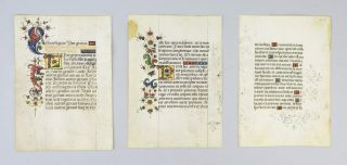 OFFERED INDIVIDUALLY ILLUMINATED VELLUM MANUSCRIPT LEAVES, FROM A. VERY ATTRACTIVE PORTABLE...