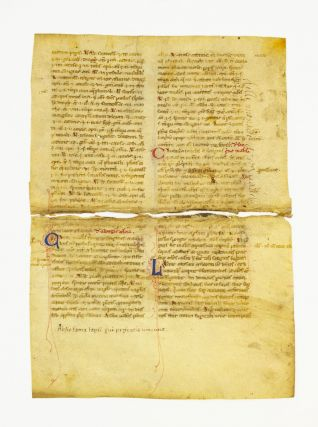 FROM A. MEDICAL TREATISE IN LATIN MANUSCRIPT LEAVES ON VELLUM, OFFERED INDIVIDUALLY, ONE LEAF...