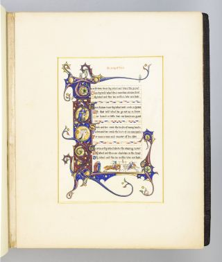 "AN ALBUM OF ILLUMINATIONS ON VELLUM PAPER FROM ""IDYLLS OF THE KING."" ILLUMINATIONS - MODERN,..."