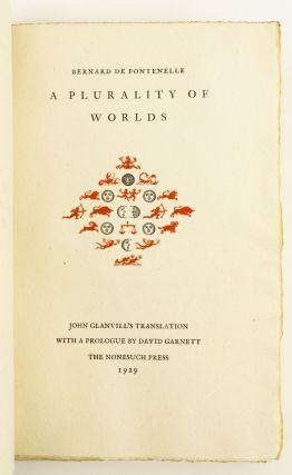 A PLURALITY OF WORLDS. NONESUCH PRESS, BERNARD DE FONTENELLE