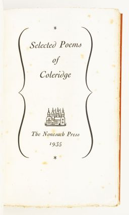 SELECTED POEMS. NONESUCH PRESS, SAMUEL TAYLOR COLERIDGE