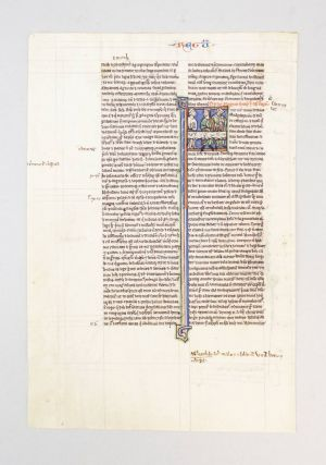 INITIAL OPENING TEXT OF 1 SAMUEL. HIS WIVES AN ILLUMINATED VELLUM MANUSCRIPT LEAF WITH AN...