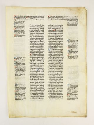 CONSTITUTIONES. AN INCUNABULAR PRINTED LEAF ON VELLUM FROM CLEMENS V'S