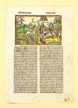 BIBLIA GERMANICA. TEXT FROM REVELATION. INCUNABULAR PRINTED LEAF, BIBLE IN GERMAN