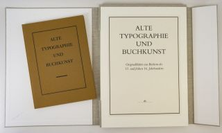 ALTE TYPOGRAPHIE UND BUCHKUNST. [OLD TYPOGRAPHY AND BOOK ART].
