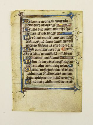 FROM AN ENGLISH PSALTER IN LATIN. OFFERED INDIVIDUALLY ILLUMINATED VELLUM MANUSCRIPT LEAVES