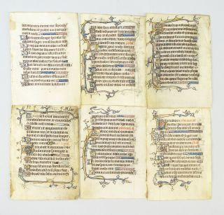 OFFERED INDIVIDUALLY ILLUMINATED VELLUM MANUSCRIPT LEAVES FROM A. PSALTER, SEVERAL WITH HYBRIDS...