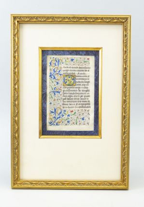 A HANDSOMELY FRAMED VELLUM ILLUMINATED MANUSCRIPT LEAF FROM A. BOOK OF HOURS IN LATIN