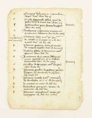 OFFERED INDIVIDUALLY SEVEN MANUSCRIPT LEAVES, FROM A. CLERICAL REGISTER ON PAPER