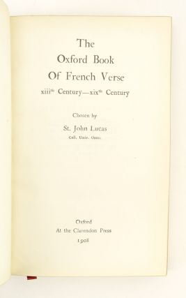 THE OXFORD BOOK OF FRENCH VERSE.