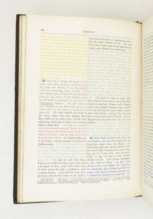 GENESIS PRINTED IN COLORS. SHOWING THE ORIGINAL SOURCES FROM WHICH IT IS SUPPOSED TO HAVE BEEN...