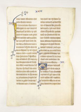 TEXT FROM HOSEA 5-7. A VERY LARGE ILLUMINATED VELLUM MANUSCRIPT LEAF FROM THE BOHUN BIBLE
