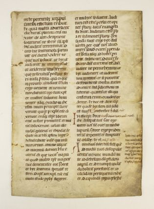 TEXT WITH EXCERPTS FROM MATTHEW 10 AND 24. A VELLUM MANUSCRIPT LEAF FROM A. VERY LARGE LECTIONARY...