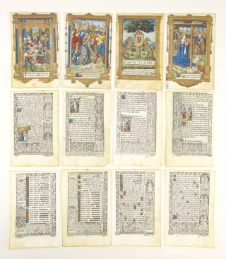 FROM A BOOK OF HOURS PRINTED ON VELLUM, SOME OF THEM WITH FINELY HAND-COLORED MINIATURES. VELLUM...