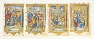 FROM A BOOK OF HOURS PRINTED ON VELLUM, SOME OF THEM WITH FINELY HAND-COLORED MINIATURES.
