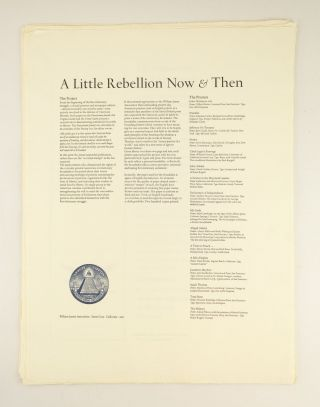 A LITTLE REBELLION NOW & THEN: SIXTEEN OF AMERICA'S FINEST TYPOGRAPHER-PRINTERS, AND AN ENGLISHMAN, PRINT ON THE AMERICAN REVOLUTION.