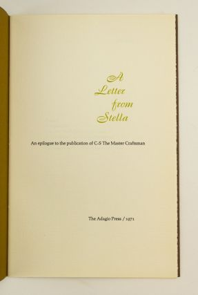 C-S, THE MASTER CRAFTSMAN. [and] COBDEN-SANDERSON, STELLA. A LETTER FROM STELLA.