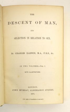 THE DESCENT OF MAN. [with] ON THE ORIGIN OF SPECIES.