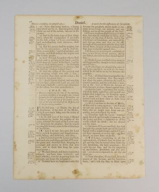 TEXT FROM DANIEL. A PRINTED LEAF FROM A. BIBLE IN ENGLISH
