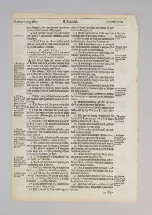 TEXT FROM II SAMUEL. A PRINTED LEAF FROM A. BIBLE IN ENGLISH, THE GENEVA BIBLE