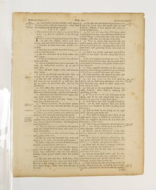 TEXT FROM THE GOSPEL OF MATTHEW. A PRINTED LEAF FROM A. BIBLE IN ENGLISH