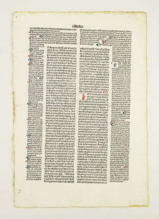 BIBLE IN LATIN. BIBLIA LATINA CUM POSTILLIS NICOLAI DE LYRA. LEAVES FROM PSALMS, SONG OF SONGS,...