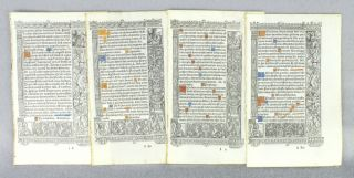 FROM A FINE, LARGE BOOK OF HOURS IN LATIN, PRINTED ON VELLUM. OFFERED INDIVIDUALLY LEAVES